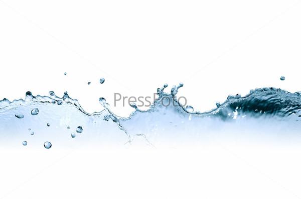 Абстрактные брызги воды на белом фоне