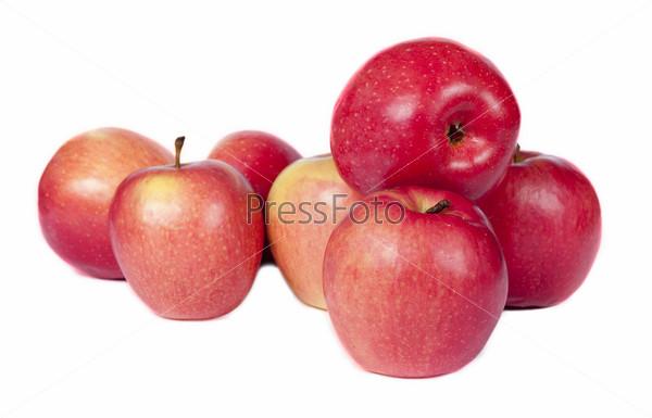 Фотография на тему Сочные красные яблоки на белом фоне