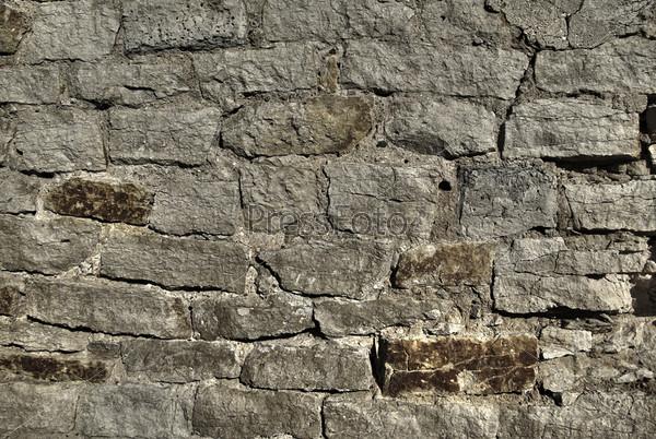 Текстура серой каменной стены. Фон