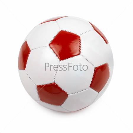 Футбольный мяч цветов флага Польши на белом фоне