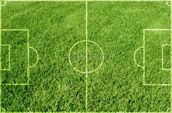 Фотография на тему Футбольное поле с зеленой травой