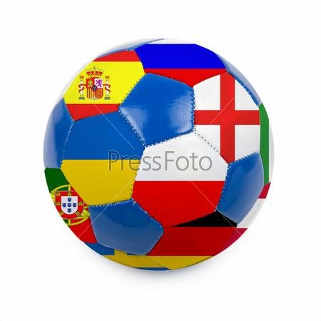 Футбольный мяч с флагами стран Евро-2012 на белом фоне
