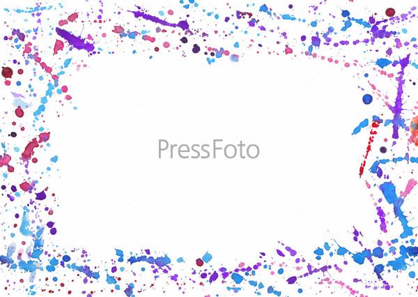 Абстрактная рамка с красочными акварельными брызгами на белом фоне