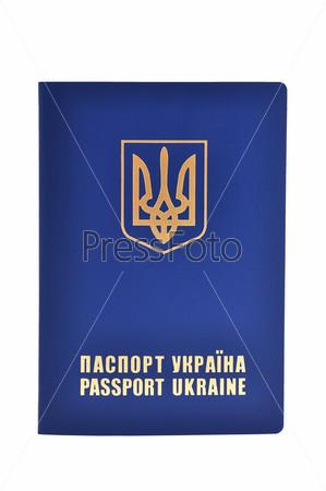 Фотография на тему Украинский заграничный паспорт на белом фоне