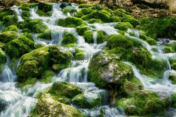 Река протекает по камням, поросшим мхом