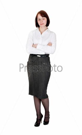 Портрет бизнес-леди в студии, изолированной на белом фоне