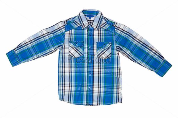 Синяя клетчатая рубашка, изолированная на белом фоне
