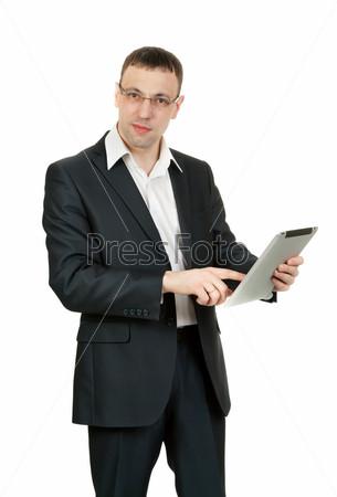 Фотография на тему Предприниматель с планшетным компьютером, изолированный на белом фоне