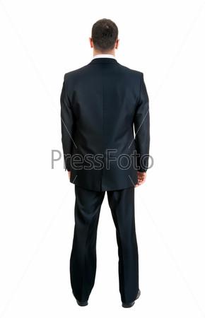 Фотография на тему Предприниматель стоит спиной, изолированный на белом фоне