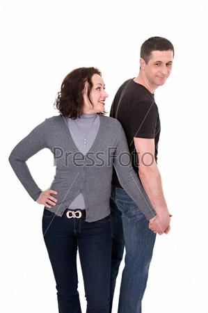 Фотография на тему Портрет красивой пары среднего возраста в студии на белом фоне