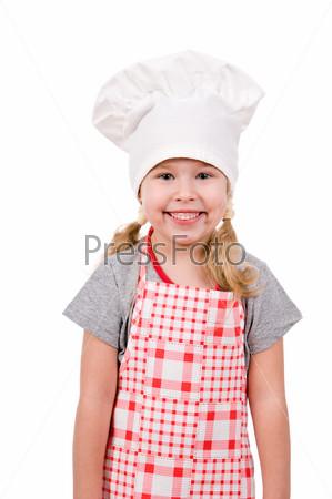 Девочка в поварском колпаке, изолированная на белом фоне