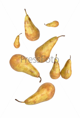 Желтые груши в воздухе
