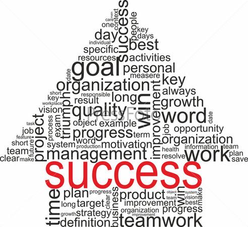 Стрелка из терминов, относящихся к понятию успех, изолированная на белом фоне