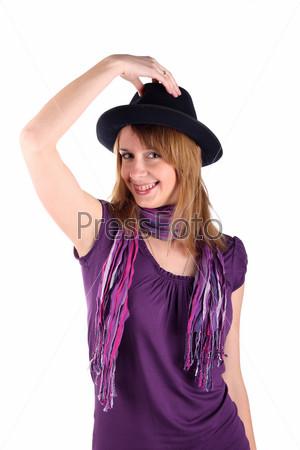 Девочка в шляпе на белом фоне