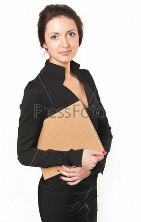 Фотография на тему Молодая женщина в деловом черном платье с документами на белом фоне