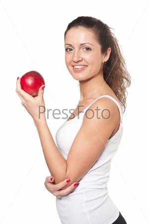 Фотография на тему Улыбающаяся женщина с красным яблоком на белом фоне