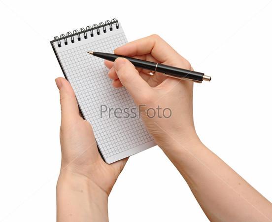 Фотография на тему Блокнот с ручкой в руках