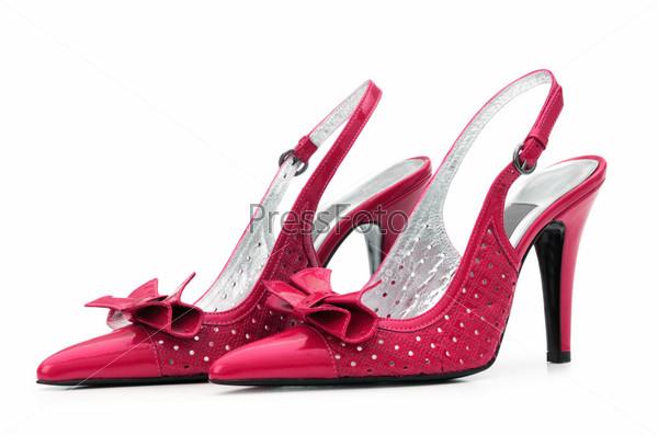 Фотография на тему Красивые женские туфли на белом фоне