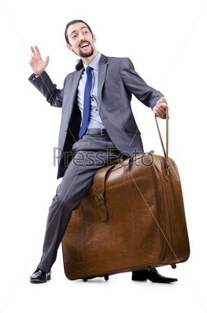 Бизнесмен с чемоданом на белом фоне