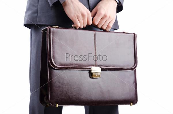 Предприниматель с портфелем на белом фоне