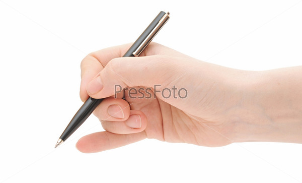 Женская рука с шариковой ручкой на белом фоне