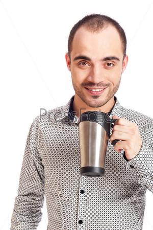 Фотография на тему Молодой человек с чашкой кофе, изолированный на белом фоне
