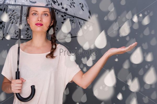 Фотография на тему Портрет молодой красивой девушки с зонтом