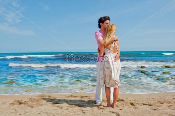 Фотография на тему Портрет молодой пары на пляже