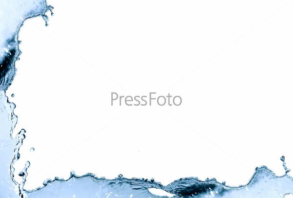 Рамка из голубых брызг воды