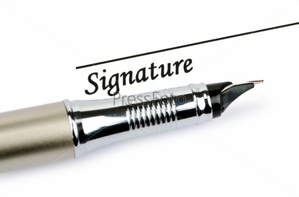 Перо и подпись, изолировано на белом фоне