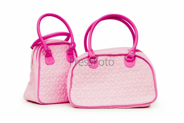 Женские сумочки на белом фоне