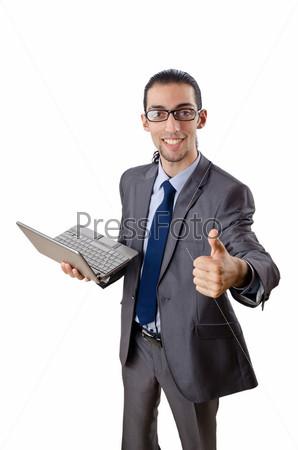 Фотография на тему Бизнесмен с ноутбуком