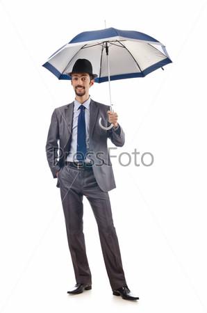 Бизнесмен в шляпе с зонтиком на белом фоне