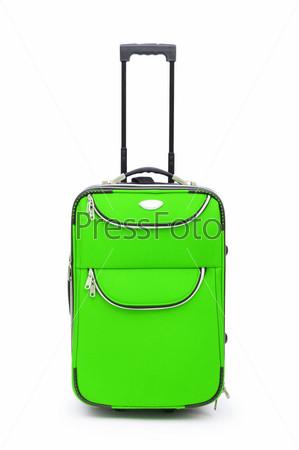 Фотография на тему Зеленая багажная сумка на белом фоне