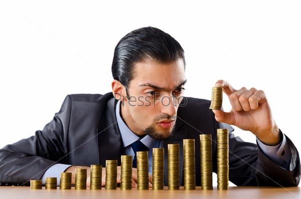 Предприниматель с золотыми монетами