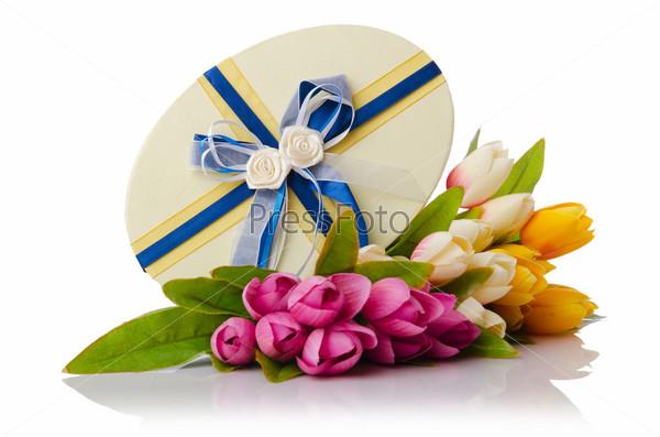 Фотография на тему Тюльпаны на белом фоне