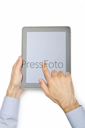 Планшетный компьютер, изолирован на белом фоне