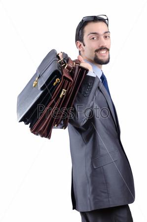 Фотография на тему Предприниматель с портфелями на белом фоне