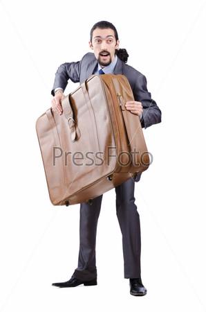 Фотография на тему Предприниматель с чемоданом на белом фоне