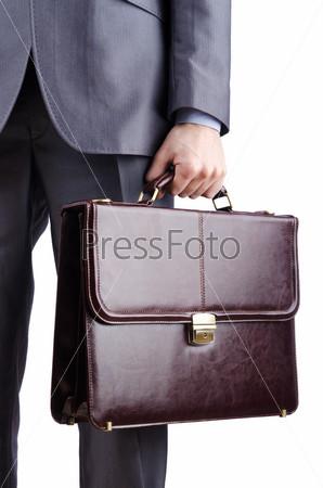 Фотография на тему Предприниматель с портфелем на белом фоне