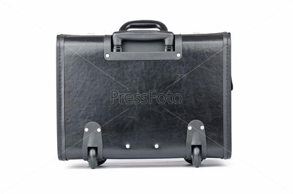 Черный портфель, изолирован на белом фоне