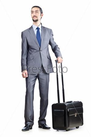 Предприниматель с чемоданом на белом фоне