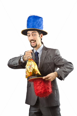 Клоун-бизнесмен, изолирован на белом фоне