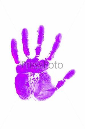 Отпечаток руки на белом фоне