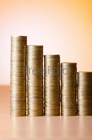 Фотография на тему Стопки золотых монет