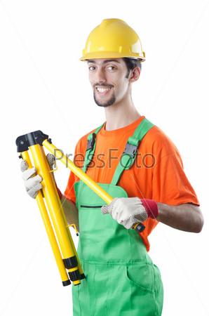 Строительный рабочий, изолирован на белом фоне