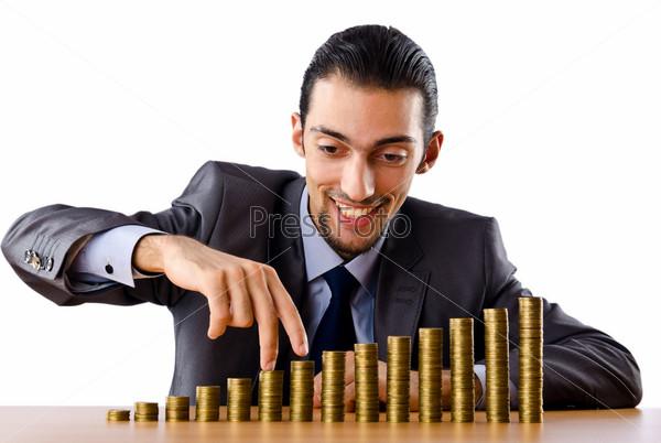 Фотография на тему Предприниматель с золотыми монетами