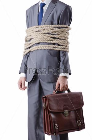 Фотография на тему Бизнесмен, связаный с веревкой