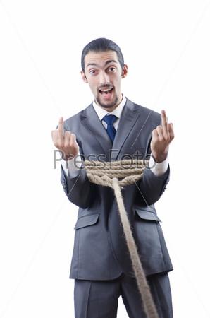Бизнесмен, связанный веревкой