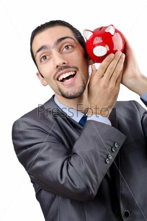 Фотография на тему Молодой человек с копилкой